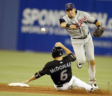 John MacDonald is thrown out at second on July 23, 2009. The Blue Jays lost 5-4 to the Indians. (MICHAEL PEAKE, Sun Media)
