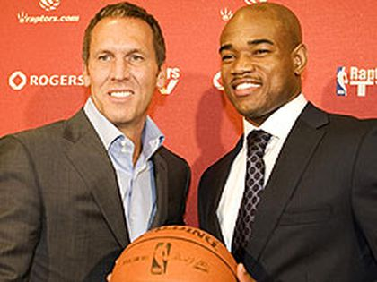 Raptors new acquisition Jarrett Jack (right) poses with general manager Bryan Colangelo yesterday at a news conference to announce Jack's signing. (VERONICA HENRI/Sun Media)