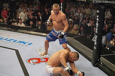 Chuck Liddell vs. Randy Couture [UFC 52: Couture vs. Liddell 2]. For the first time in his career, Couture was knocked out cold. (UFC photo)
