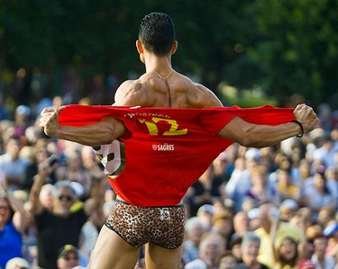 Mr. CHIN contestants take the stage at the 43rd Annual CHIN International Picnic at Exhibition Place on July 5, 2009. (ERNEST DOROSZUK, Sun Media)