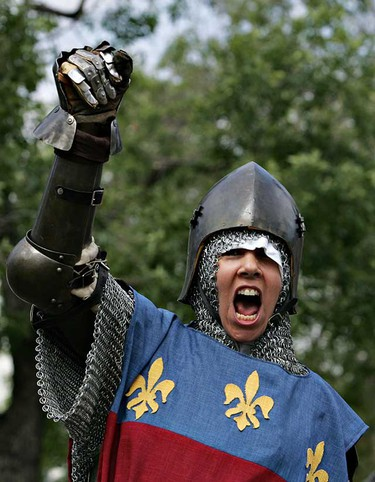 Denise Legris yells after winning a fight during a Knights of the Northern Realm event at McIntyre Park on Saturday. (Amber Bracken/Sun Media)