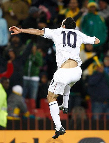 Landon Donovan of the U.S. celebrates after scoring the second goal against Brazil during the Confederations Cup final soccer match at Ellis park stadium in Johannesburg on June 28, 2009. (REUTERS)