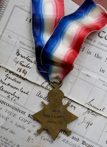 Shirley Allaway and her husband, Jim, are looking for the family of a deceased veteran of the conflict so they can return the medals, a birth certificate and even an old picture of what is presumed to be the vet all held for safe keeping in an aging can of Fry's Pure Breakfast Cocoa. (SUN MEDIA/Greg Henkenhaf)
