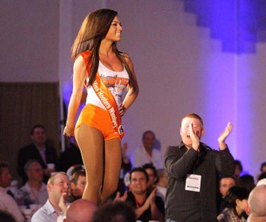 Local Hooters server Nikki Warbansky performs on stage as one of 20 women from across Canada in the 10th annual Miss Hooters of Canada pageant at the Delta Winnipeg May 27, 2009. Four employees from the Hooters restaurant on St. Matthews Avenue took part in the event. Warbansky won the title, earning a spot in this year's international pageant in Hollywood, Fla. It was the first time Winnipeg has hosted the national pageant. (Jason Halstead/SUN MEDIA)
