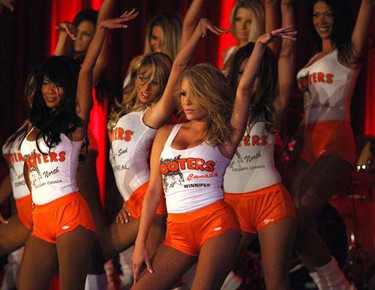 Some of the 20 women from across Canada competing in the 10th annual Miss Hooters of Canada pageant heat up the stage at the Delta Winnipeg on May 27, 2009. Four employees from the Hooters restaurant on St. Matthews Avenue took part in the event. The winner is guaranteed a spot in this year's international pageant in Hollywood, Fla. It was the first time Winnipeg has hosted the national pageant. (Jason Halstead/SUN MEDIA)