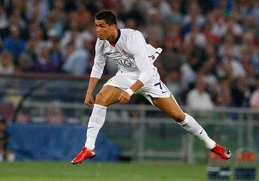 Manchester United's Cristiano Ronaldo watches his shot during their Champions League final soccer match against Barcelona at the Olympic Stadium in Rome on May 27, 2009. (REUTERS)