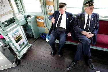 May. 15: (left to right) Edmonton Radial Railway Society volunteers Earl Clements and Gordon Oleschuk wait for passengers as they prepare to take the Edmonton High Level Street Car out for its first trip of the season. (David Bloom/Sun Media)