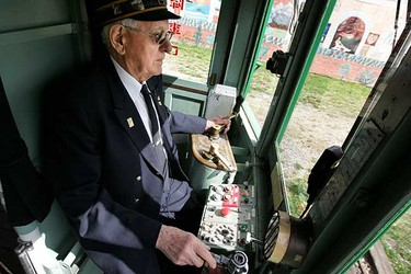 May 15: Motorman Gordon Oleschuk, 82, drives the Edmonton High Level Street Car on its first trip of the season. Oleschuk used to drive street cars for the City of Edmonton, but now volunteers his time with the Edmonton Radial Railway Society, making him the last active motorman. The street car will provide daily service from Old Strathcona to Jasper Avenue and 109 Street until Labour Day, and then run Friday, Saturday, and Sunday until Thanksgiving. (David Bloom/Sun Media)