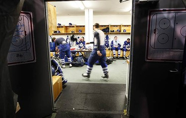 The team prepares during intermission during action between the Toronto Marlies and Syracuse Crunch at the Oncenter War Memorial in Syracuse, N.Y. on March 11, 2009. (DAVE ABEL, Sun Media)
