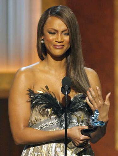 Tyra Banks becomes emotional while accepting the Media Award during The BET Honors show Saturday Jan. 12, 2008 in Washington. The show honours the achievements of distinguished African American leaders. (File photo)