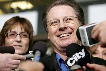 Jan. 30: Keith Myrol, father of slain RCMP officer Brock Myrol, smiles while answering questions from the media after the sentencing hearing for Shawn Hennessey and Dennis Cheeseman at the court house in downtown Edmonton. Hennessey was given a 15-year sentence, while his brother-in-law, 25-year-old Dennis Cheeseman, was given a 12-year sentence.    (JORDAN VERLAGE/Sun Media)
