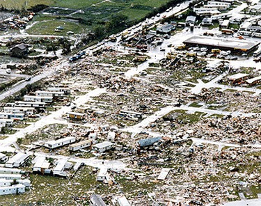 The destruction at the Evergreen Mobile Home Park is almost beyond belief. ((Sun file photo))