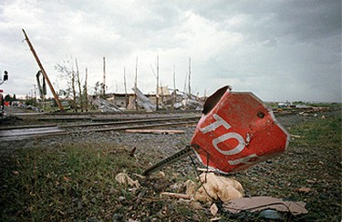 A sign of destruction marks the intersection at 30 Street and 64 Avenue. ((Sun file photo))