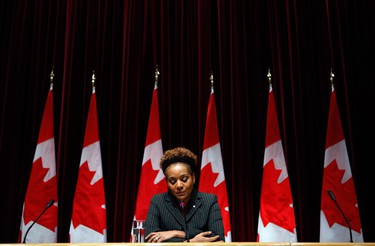 Canada's Governor General Michaelle Jean is overcome with emotion while speaking about the crisis in Haiti following Tuesday's earthquake, in Ottawa January 13, 2010.   (REUTERS)