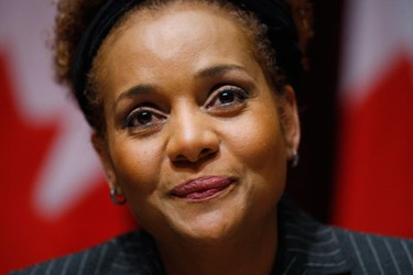 Canada's Governor General Michaelle Jean pauses while speaking about the crisis in Haiti following Tuesday's earthquake in Ottawa January 13, 2010. CANADA - Tags: DISASTER POLITICS)