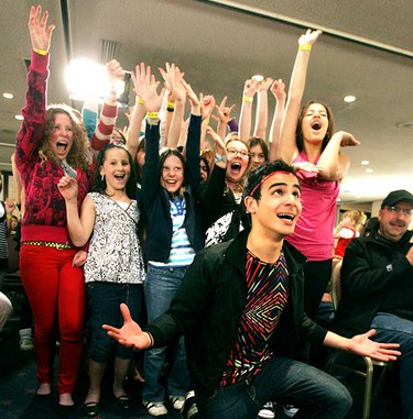 May 19: Show host Adamo Ruggiero in a video show with kids waiting for their auditions for YTV's The Next Star show.  About 400 kids under the age of 15 lined up at 5 a.m. to be judged on their singing ability.  There will be 16 kids picked from across Canada for the show.      (Perry Mah/Sun Media)