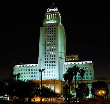 City Hall is seen as lights come back on at the end of Earth Hour in Los Angeles on March 28, 2009. More than 80 countries signed up for Earth Hour on in which homes, office towers and landmarks turned off their lights from 8.30 pm local time to raise awareness about climate change and the threat from rising greenhouse gas emissions.  (REUTERS)