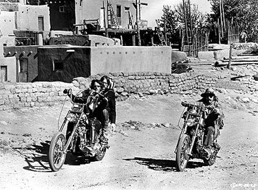 Peter Fonda and Dennis Hopper star in one of the great movie journeys of all time in Easy Rider. The two actors play bikers seeking freedom on a road trip through the southern United States. (Courtesy Columbia Pictures)