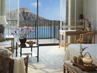 Halekulani, Honolulu, Hawaii: Located on Waikiki Beach, this luxury property offers guests peaceful accommodations, complete with a deep soaking tub, full shower and complimentary Wi-Fi service. After a day of relaxing beachside, dine in one of Halekulani's three gourmet restaurants. (Courtesy Leading Hotels of the World)
