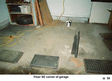 Police photos of Mark Twitchell's rented garage at 5712 40 Ave was presented at court in Edmonton, Alta. on March 17, 2011.  (Court evidence)