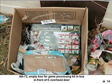 Court proceedings continued Friday in the first-degree murder trial of Mark Twitchell. Empty box for game processing kit in a box with other items was seized by Edmonton police . Twitchell, 31, is accused of killing Johnny Altinger in a rented Mill Woods garage on Oct. 10, 2008. (Court evidence)