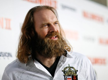 """Cast member Tyler Mane poses at the premiere of the movie """"Halloween II"""" at the Grauman's Chinese theatre in Hollywood, California August 24, 2009. The movie opens in the U.S. on August 28.  (REUTERS)"""