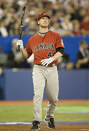 Jason Bay frustrated at the plate.  Canada lost game 1 to the  USA  5-6 in the World Baseball Classic at the Rogers Centre. (STAN BEHAL, Sun Media)