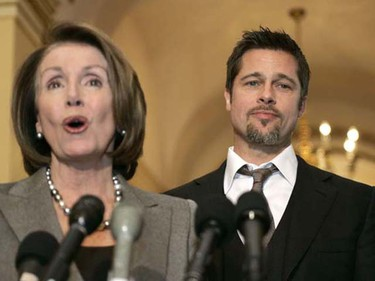 "Actor Brad Pitt appears with House Speaker Nancy Pelosi before their meeting on the ""Make it Right"" project, in the U.S. Capitol in Washington March 5, 2009. The project was launched in 2007 to construct affordable and environmentally-sustainable housing for low-income residents of the Lower 9th Ward in New Orleans who lost their homes as a result of Hurricane Katrina. (Molly Riley/REUTERS)"