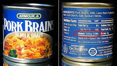 Pork Brains in Milk Gravy: Only 3,500 mg of cholesterol per serving and none of that pesky fibre or Vitamin A. (Courtesy of thisiswhyyourefat.com)