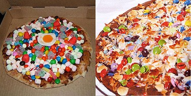 Candy Pizza: Miniature marshmallows, gum drops, M&M's, coconut flakes, candy hearts, a candy fried egg and chopped pecans served on a pizza crust with a chocolate and caramel sauce. But seriously, a pizza without cheese? What gives? (Courtesy of thisiswhyyourefat.com)