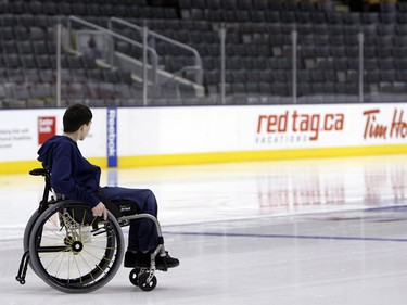 Sylvain Labelle makes his way across the ice during the Toronto Maple Leafs Skate for Easter Seals Kids at the Air Canada Centre February 16th, 2009.  (SUN MEDIA/Dave Abel)