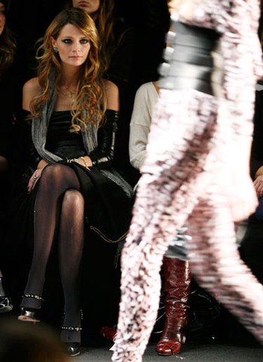 Actress Mischa Barton watches the Miss Sixty 2009 fall/winter show during New York Fashion Week February 15, 2009. (REUTERS)