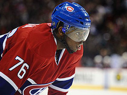 Canadiens defenceman Subban gets set for a face off against the Atlanta Thrashers at the Bell Centre in Montreal on March 29, 2011. (MARTIN CHEVALIER/QMI Agency)