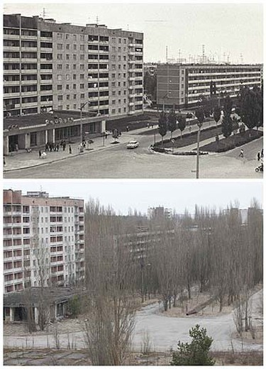 A combination of images, taken in 1982 and on March 31, 2011, shows before and after view of the abandoned city of Prypiat near the Chernobyl nuclear power plant. REUTERS/Vladimir Repik and Gleb Garanich