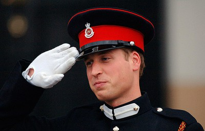 Prince William salutes after the Sovereign's Parade at the Royal Military Academy Sandhurst in Sandhurst, England on December 15, 2006. (Anwar Hussein Collection/POOL/WENN.COM)