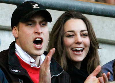 Prince William and Kate Middleton are seen attending the Six Nations international rugby union match against Italy in London on February 10, 2007. (REUTERS FILES/Eddie Keogh)