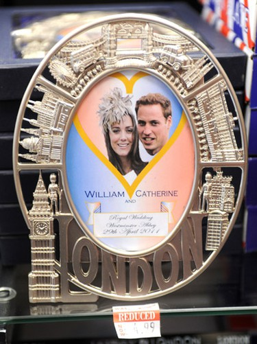 Prince William and Kate Middleton Royal Wedding souvenir picture frame for sale, in a shop in central London. Prince William, the second in line to the throne, and Kate Middleton announced their engagement last November after a seven-year romance that began at university.(Zak Hussein/WENN.com)