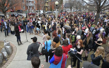 Close to 1000 people gathered to support each other during Ottawa's first ever Slut Walk Sunday April 10, 2011. The walk started at the Women's monument in Minto Park and ended up at the Human Rights Monument on Elgin Street.  TONY CALDWELL/OTTAWA SUN/QMI AGENCY