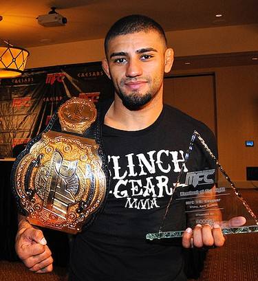 """Welterweight champ Douglas """"the Phenom"""" Lima, of Atlanta, takes home Knockout of the Night honours as MFC makes its debut in Windsor. (CHRIS DOUCETTE/QMI Agency/Toronto Sun)"""