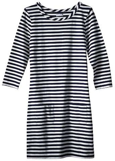 Sportswear pieces can feel a little boring - stay chic by choosing crisp white summery trousers (pair it with a low-cut cami to keep it feminine), tight turtlenecks (stay away from the schoolmarm look!), or a nautical-inspired t-shirt dress (belt it to show off your curves). Our pick: Joe Fresh STRIPED T-SHIRT DRESS.