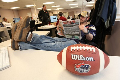 WHAT IT'S ALL ABOUT: Pierce does the Sun sports editor's job, Friday, April 14, 2011.