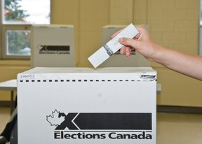 A vote is placed in a ballot box. (Elections Canada)
