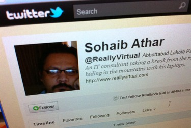 """A computer screen in Singapore May 2, 2011, shows the Twitter page of Sohaib Athar. In the early hours of Monday, Athar reported on his Twitter account that a loud bang had rattled his windows in the Pakistani town of Abbottabad. A few hours later he posted another tweet: """"Uh oh, now I'm the guy who liveblogged the Osama raid without knowing it."""" REUTERS/David Loh"""