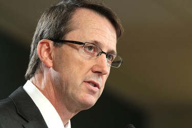 Mark Chipman talks at the presser at the MTS Centre where the return of the NHL to Winnipeg was announced. (Winnipeg Sun)
