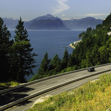 The intensely scenic Sea to Sky Highway is a stretch of Highway 99 that snakes along the cliffs of Howe Sound from Horseshoe Bay in West Vancouver to the town of Squamish. (Coast Mountain/Tourism Whistler)