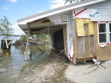 Photo taken by an anonymous Twin Lakes Beach cottage owner on Saturday, June 11, 2011. The area has been devastated by flooding due to high water levels on Lake Manitoba. (Handout)