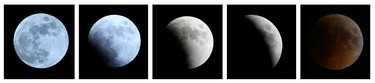 A combination of photographs shows the gradual lunar eclipse ending with a total eclipse, marking the beginning of the third week of the Islamic month of Rajab, as seen over the skies of Dubai on June 15, 2011. (REUTERS/Jumana El Heloueh)