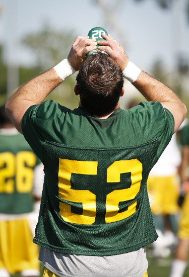 Taylor Inglis takes a drink duing the Eskimo Training Camp at Clarke Park in Edmonton on Wednesday, June 22, 2011.  PHOTO BY LAURA DETTLING/EDMONTON SUN   QMI AGENCY