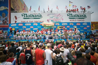 A view shows the stage for the 2011 Nathan's Famous Fourth of July International Hot Dog Eating Contest at Coney Island, Brooklyn, New York July 4, 2011. REUTERS/Allison Joyce