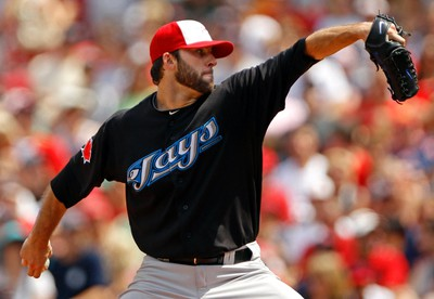 Toronto Blue Jays' starting pitcher Brandon Morrow pitches against the Boston Red Sox during the second inning of their MLB American League baseball game at Fenway Park in Boston, Massachusetts on July 4, 2011. (REUTERS)